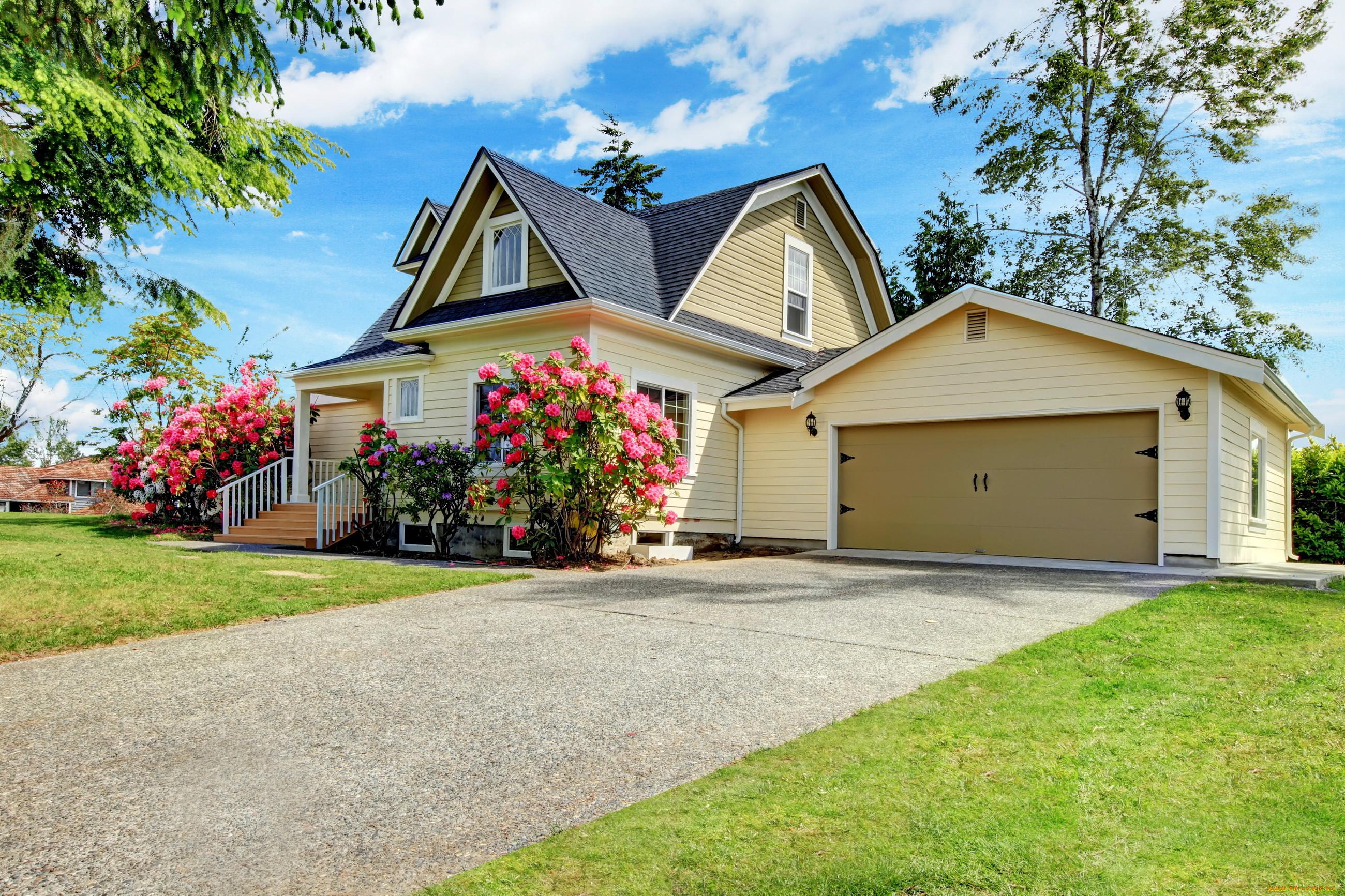 Обои особняк, цветы, газон, кусты. Города foto 19